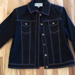 NWOT St. John Sport black denim jacket P (fits S)